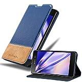 Cadorabo Hülle für Sony Xperia M5 in DUNKEL BLAU BRAUN – Handyhülle mit Magnetverschluss, Standfunktion & Kartenfach – Hülle Cover Schutzhülle Etui Tasche Book Klapp Style