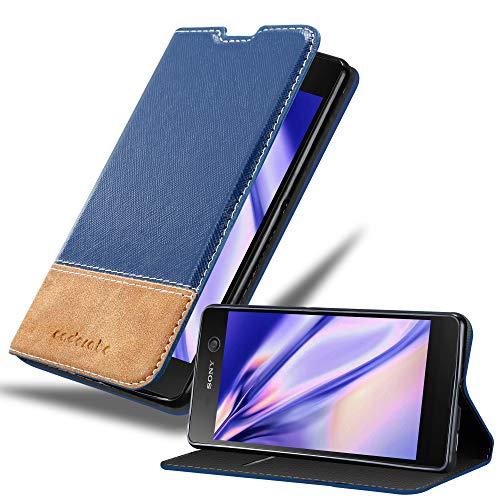 Cadorabo Hülle für Sony Xperia M5 - Hülle in DUNKEL BLAU BRAUN – Handyhülle mit Standfunktion & Kartenfach aus Einer Kunstlederkombi - Hülle Cover Schutzhülle Etui Tasche Book