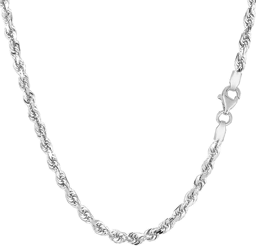 14k SOLID Yellow or White Gold 3.00mm Shiny Diamond-Cut Royal Solid Rope Chain Necklace for Pendants and Charms with Lobster-Claw Clasp (7