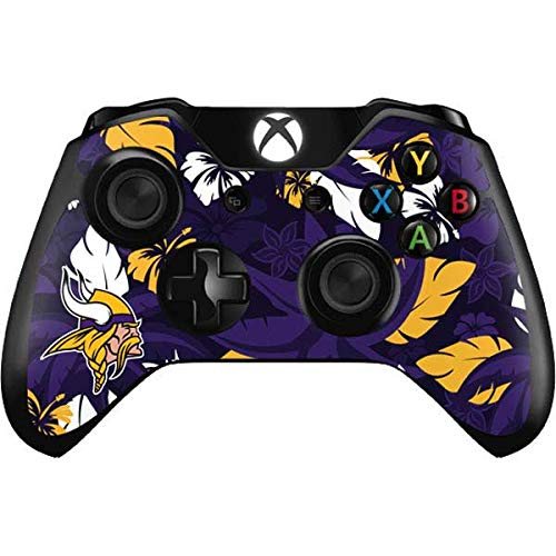 Skinit Decal Gaming Skin Compatible with Xbox One Controller - Officially Licensed NFL Minnesota Vikings Tropical Print Design