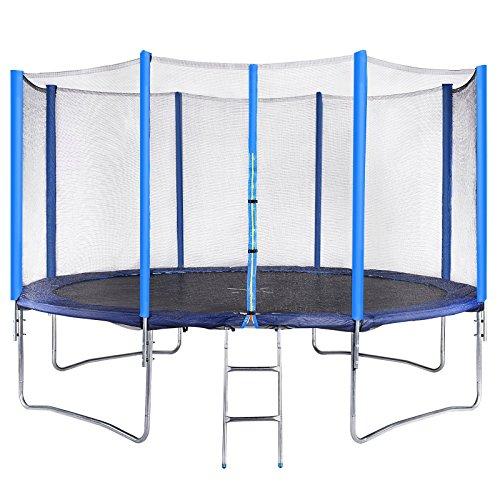 Physionics Set trampolino elastico da giardino Ø 396 cm con rete di protezione, scaletta e copertura