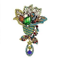 Unisex Rhinestone Flower Brooch Pin