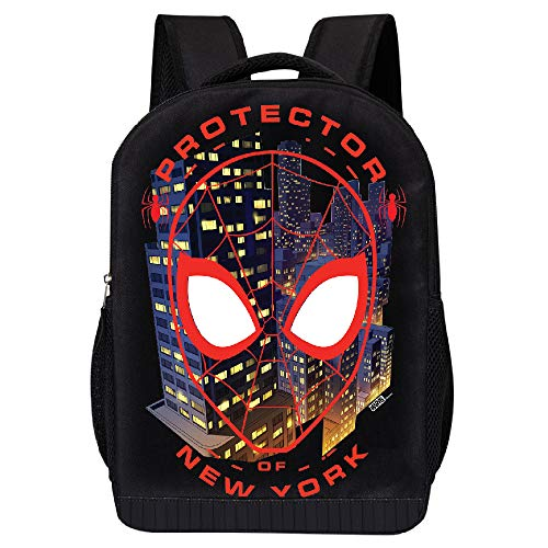 MARVEL COMICS CLASSIC SPIDERMAN BACKPACK - MARVEL BLACK SPIDERMAN 18 INCH AIR MESH PADDED BAG (Spiderman New York)