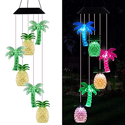 LED Solar Coconut Tree Pineapple Wind Chimes Outdoor - Waterproof Solar Powered Changing Color Palm Tree Pineapple Wind Chime Light for Home, Party, Festival Decor, Night Garden Decoration(blackboard)