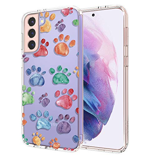 for Samsung S21 Case, for Samsung Galaxy S21 5G Case, MOSNOVO Clear Slim Soft TPU + PC Cover Case with Cute Dog Paw Design Phone Case for Galaxy S21