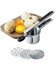 UniForU Potato Ricer Set Stainless Steel Masher Fruit and Vegetable Food Ricer Lemon/Orange Squeezer with 3 Interchangeable Discs (Black)