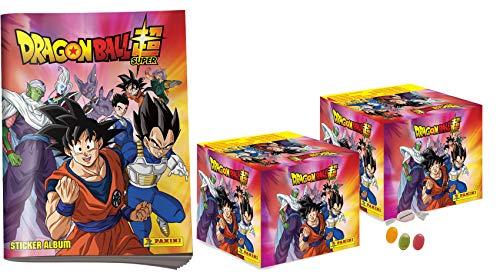Panini Dragon Ball Super Sticker - 1 x Sammelalbum + 2 Display ( je 36 Tüten) zusätzlich erhalten Sie 1 x Fruchtmix Sticker-und-co Bonbon