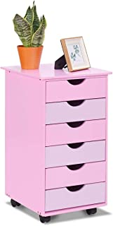 Costzon 6-Drawer Mobile File Storage Cabinet w/Wheels, Wood Removable Bedside Table, Organization 6 Drawer for Closet, Office, Girls, Bedroom Children, Kids Furniture Pink