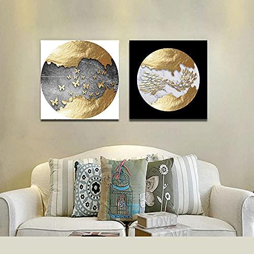 YCHND Mariposa Abstracta pez Lienzo Arte de la Pared Negro Blanco cuadrode Oro Cartel de Lujo impresión nórdica Sala de Estar decoración de la Pared del hogar Imagen 50x50cmx2 sin Marco