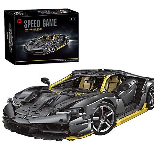 xSuper Technic Racing Car 911 RSR ladrillos de bloque de construcción 3874+Pcs Coleccionable Supercar Display Modelo estático Negro Amarillo - Compatible con Lego