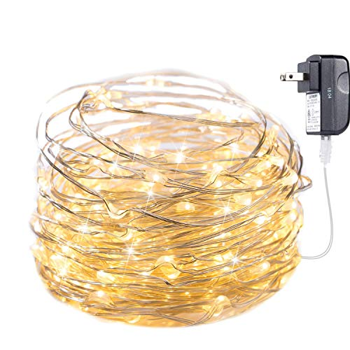 Minetom Fairy Lights Plug in, 33Ft 100 LED Waterproof Firefly Lights on Silver Wire - UL Adaptor Included, Starry String Lights for Wedding Indoor Outdoor Christmas Patio Garden Decoration, Warm White