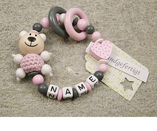 Baby Greifling Beißring geschlossen mit Namen - individuelles Holz Lernspielzeug als Geschenk zur Geburt Taufe - Mädchen Motiv Bär und Herz in rosa