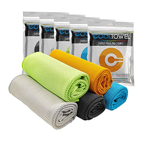 5 Pack Cooling Towel,Soft Breathable Chilly Towel,Gym Towels Microfiber Towel,Fast Cooling Ice Towel for Yoga,Gym,Fitness,Running,Workout& More Activities (5)