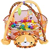 Cocoarm Baby Spiel Aktivität Gymnastikmatte, Erlebnisdecke Krabbeldecke mit weichem Spielbogen, mit Schutzgitter Mesh Bunte Bälle Spielzeug (Löwe)