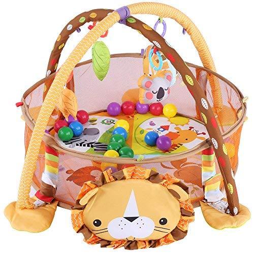 Alfombra Juegos Bebes,Baby Actividad colchoneta de gimnasia Alfombrilla de juegos para bebé manta para gatear con suave parte arco, con rejilla protectora Malla Multicolor pelotas juguete