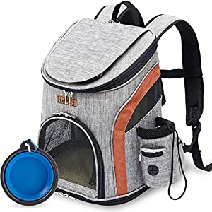 IDEE Dog Backpack Carrier for Small Dog, Cat Backpack Carrier, Pet Carrier Backpack for Small Dogs, Cat,Rabbit for Hiking Biking Camping Travel Outdoor Use,Up to 10lbs (Gery+Orange)