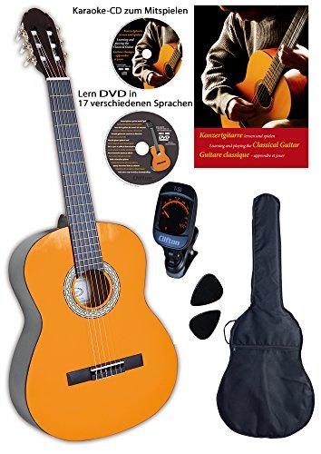 Konzertgitarre 3 4 von Clifton, Lernbuch, Karaoke CD, Lern-DVD, digitales Stimmgerät, gepolsterte Tasche, 2 Plectren