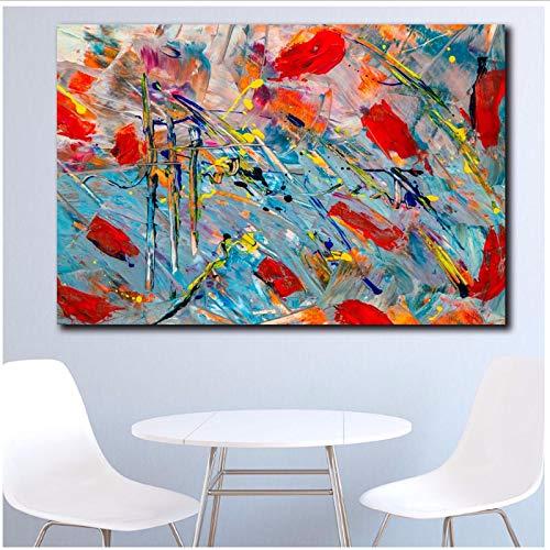 Modern abstract expressionisme schilderij kleurrijke canvas muurschilderijen voor woonkamer kantoor slaapkamer modern canvas schilderij 50x100 cm geen lijst