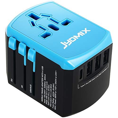JYDMIX All-in-One Universal USB Reiseadapter mit 3 USB-Ports und Typ-C International Ladegerät Weltweit AC-in Ladestecker 8 Pin AC Steckdose für Multinationale Reisen (Black)