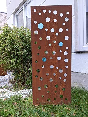 Zen Man Edelrost Garten Sichtschutz aus Metall 1mm Rost Gartenzaun Gartendeko Rost Sichtschutzwand Glasdeko (032098: B50 H125cm)