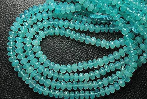 autorización GEMS-WORLD BEADS GEMSTONE 7 Inches, Inches, Inches, Super Finest Rich Color, Pruvian azul Aqua Chalcedony Faceted Rondelles, Large Talla 5-7mm  Precio por piso