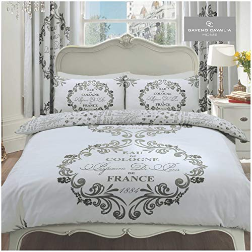 Gaveno Cavailia Luxurious SCRIPT PARIS Bed Set With Duvet Cover and Pillow Case, Polyester-Cotton, Silver , Double