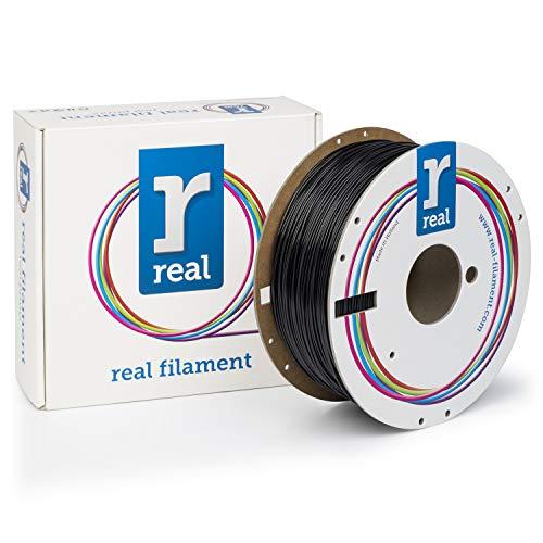 Real Filament 8719128328881 Bobine de filament PET-G de 1kg, 1,75mm, noir, opaque