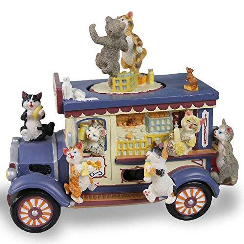 zhipeng Azul Coche Dibujos Animados Cat Dance Música Bo Música Bo Resina Material Kitty Home Muebles Adornos 15 * 10 * 14cm hsvbkwm