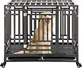 Heavy Duty Dog Crate Cage Kennel Playpen Large Strong Metal for Large Dogs Cats with Four Lockable Wheels, Easy to Assemble