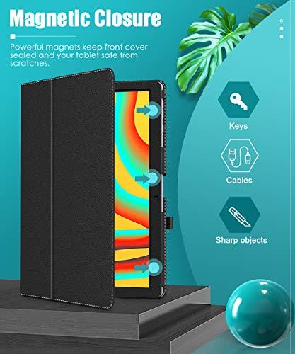 MoKo Hülle Kompatibel mit Vankyo MatrixPad S30 Tablet, Kunstleder Ständer Schutzhülle Tasche Cover mit Stift-Schleife Standfunktion - Schwarz