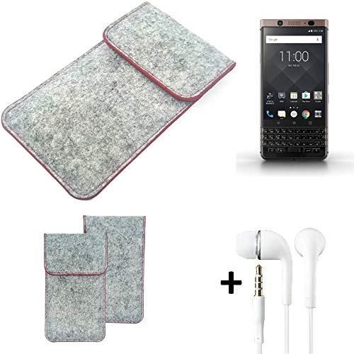 K-S-Trade® Handy Schutz Hülle Für BlackBerry KEYone Bronze Edition Schutzhülle Handyhülle Filztasche Pouch Tasche Case Sleeve Filzhülle Hellgrau Roter Rand + Kopfhörer