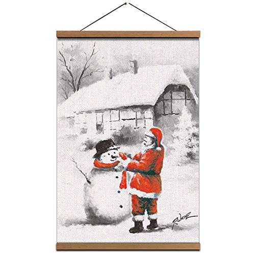 Hanging Poster Santa With Snowman Painting - Christmas Wall Art Picture Linen Canvas Prints with Scroll Teak Wood Hanger for Wall Decor 16X24inch