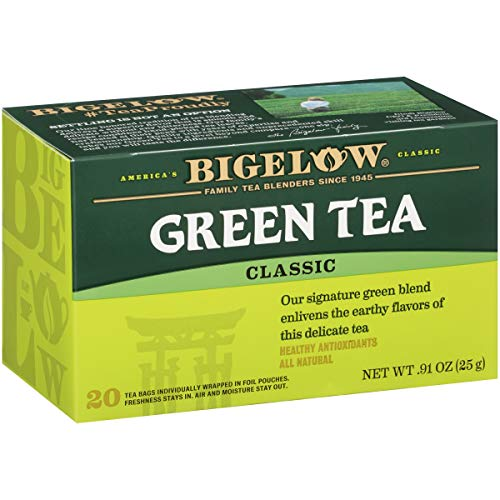 Bigelow Green Tea Bags, 20 Count Box (Pack of 6) Caffeinated Green Tea, 120 Tea Bags Total