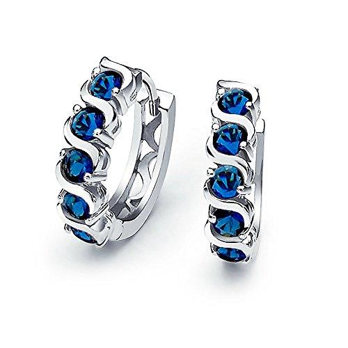 Blau Wave Runden Zirkonia CZ Kleine Kpop Huggie Creolen Für Damen Für Herren Simulierten Saphir Sterling Silber