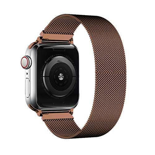 Correa milanesa para Apple Watch, accesorios de banda de bucle Banda de pulsera de malla metálica para iWatch SE / 6/5/4/3 marrón, 38 mm o 40 mm