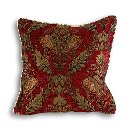 Shiraz Large Square Cushion Cover - Burgundy Red - Embroidered Damask Jacquard - Gold Piped Edges - Reversible - Zip Closure - 100% Polyester - 58 x 58cm (23' x 23' inches) - Made by Riva Paoletti