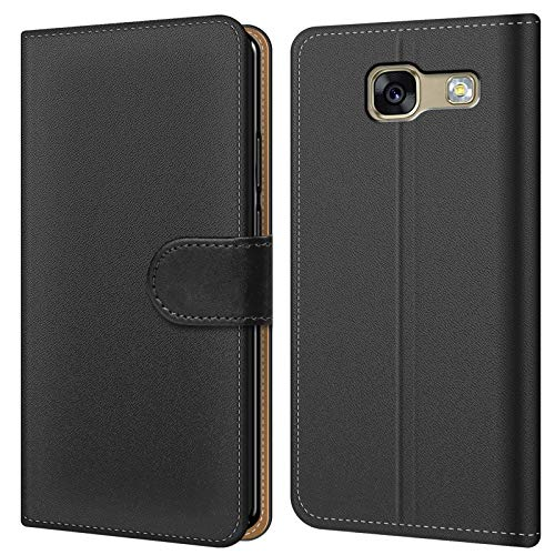 Conie BW28267 Basic Wallet Kompatibel mit Samsung Galaxy A3 2017 (A320), Booklet PU Leder Hülle Tasche mit Kartenfächer und Aufstellfunktion für Galaxy A3 2017 (A320) Case Schwarz