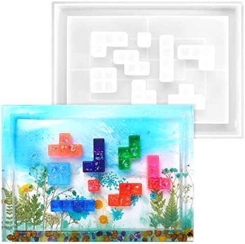 Silicone Tray Russian Blocks Mold Epoxy Casting Resin Serving Pan with Edges and 8 Geometric product image