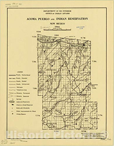 Historic Pictoric Map : New Mexico 1944, Acoma Pueblo and Indian Reservation, New Mexico, 1944, Antique Vintage Reproduction : 44in x 57in