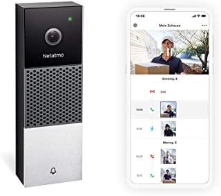 Netatmo Smart video dörrklocka med kamera, WLAN, 2-vägs ljud, personlig igenkänning, ingen prenumeration, 1080p HD-video, ...