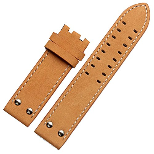 Correa de reloj de piel de 22 mm, con costuras piloto compatibles con la aviación de color caqui, Correa