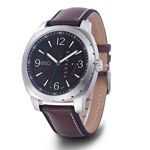 ESQ Men's Casual Stainless Steel Analog-Quartz Watch with Leather-Pig-Skin Strap, Brown, 21.5 (Model: 37ESQE11001A)