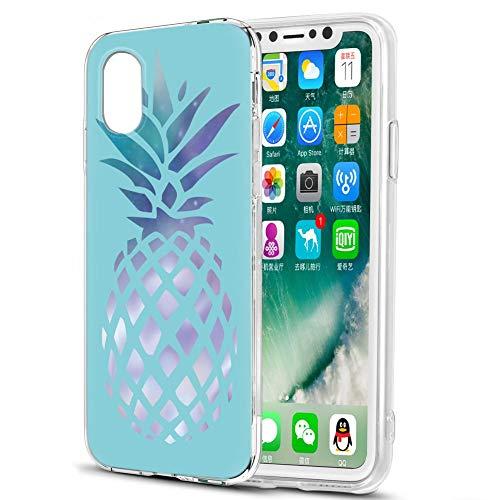 Pnakqil Hülle kompatibel mit Huawei Honor Play 8A Phone, Silikon Schutzhülle TPU Clear Transparent Kratzfest UltraDünn Stoßfest Muster Handyhülle für Huawei Honor Play 8A, Blaue Ananas