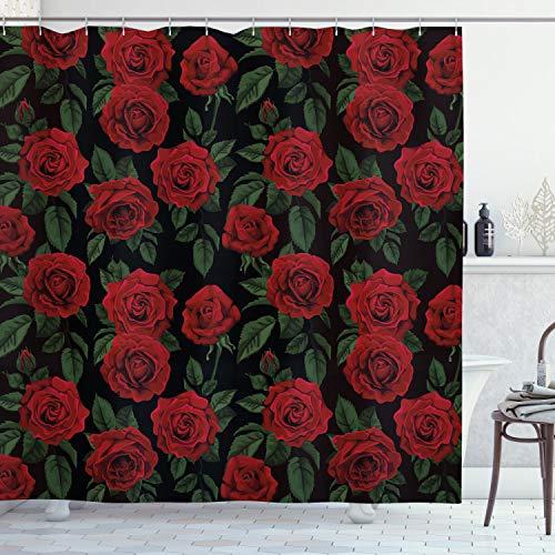 ABAKUHAUS Roos Douchegordijn, Retro Bladeren van de Bloemblaadjes Growth, stoffen badkamerdecoratieset met haakjes, 175 x 200 cm, Ruby Hunter Groen Zwart
