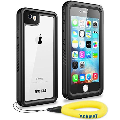 Temdan iPhone 7/8/SE 2020 Waterproof Case with Floating Strap and Built in Screen Protector Snowproof Shockproof Underwater Case for iPhone 7 iPhone 8 and iPhone SE 2020(Black)