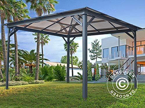 Dancover Cenador de jardín Santa Monica con Paredes Laterales y mosquitero, 3x4m, Gris Oscuro: Amazon.es: Jardín