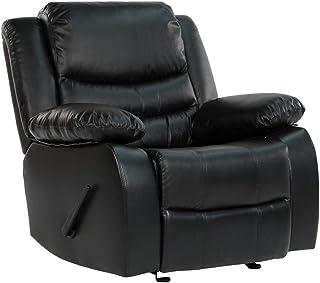 DIVANO ROMA FURNITURE CAM008 Recliner Chair, Black