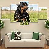 ganlanshu Rahmenlose Malerei Leinwandkunst Deutscher Schäferhund Malerei 5 Stück HD Wandbild Wohnzimmer Schlafzimmer DekorationZGQ4496 40x60cmx2, 40x80cmx2, 40x100cmx1