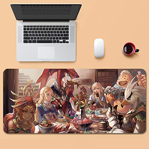 Tonjaberg Stitched Edge Mouse pad/The Legend of Zelda-Anime Mouse pad/XL XXL Gaming Mouse pad Anti-Slip/Anti-Dirty/Office Mouse pad-31.4 inches × 15.7 inches (800 mm 400 mm)