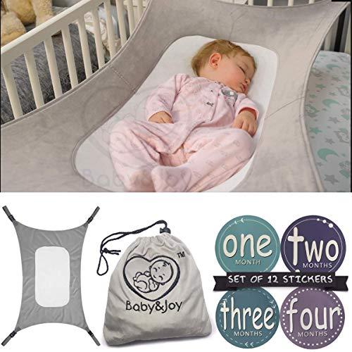 Baby Hammock for Crib, Mimics Womb, Bassinet Hammock Bed, Enhanced Material, Upgraded Safety Measures, Newborn Infant Nursery Bed by Baby&Joy (Bonus Gift Bag) (Gray)